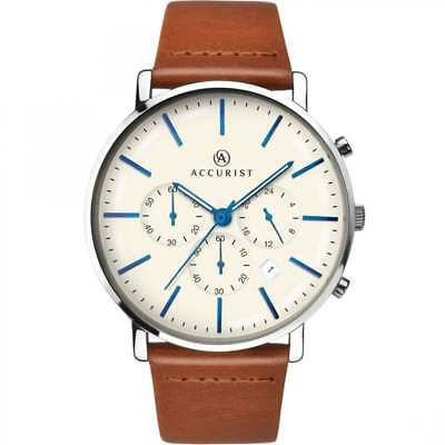 £49.99 • Buy Accurist Chronograph Cream Dial Tan Leather Strap Gents Watch 7169