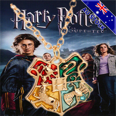 AU8.85 • Buy Harry Potter Hogwarts School Pendant Gold Necklace Cosplay