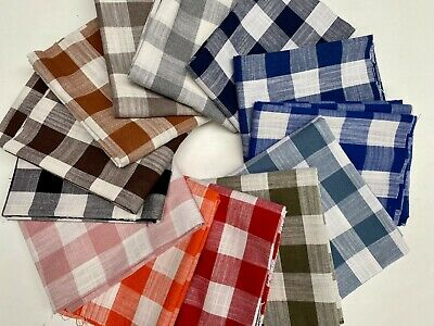 Gingham Linen Checked Cotton Fabric Plaid Material Buffalo Check 140cm Wide • 10.99£