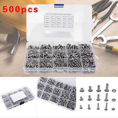 AU24.05 • Buy 500pc M3 M4 M5 304 Stainless Steel Hex Socket Button Head Bolts Screws Nuts Kit
