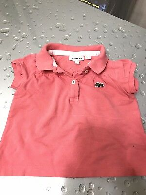 Girls Lacoste Coral  Pink Short Sleeve Summer Top  Cotton Size 2 Years • 6.38£