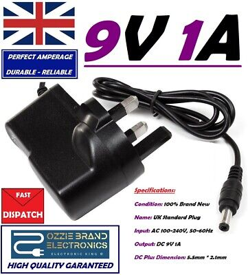 £8.80 • Buy UK 9V 1A AC/DC Mains Power Supply Adapter Charger Plug AC 100-240V 50/60Hz