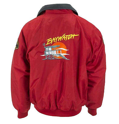 Mens Baywatch Red Bomber Lifeguard Costume Jacket New • 57£