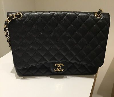 4f32a3ceb7a7 Authentic Chanel Black Caviar Jumbo Classic Single Flap Bag With Gold HW •  4,150.00$