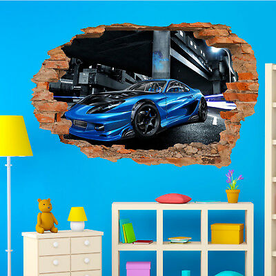 Super Sports Race Car Wall Stickers 3d Art Mural Decal Home Office Decor SI9 • 22.99£