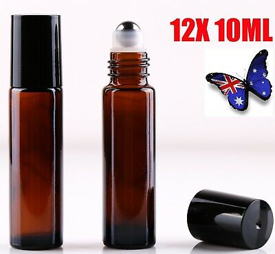 AU13.99 • Buy 12 10ml Roller Bottles Amber THICK Glass Steel Roll On Ball For Essential Oils