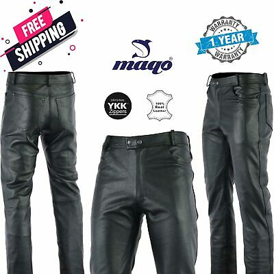 £74.95 • Buy Mens Leather Trouser Jeans For Motorbike Motorcycle Fashion Cowhide Top Grain