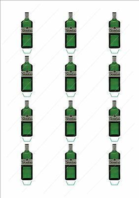 Novelty Gordons Gin Bottle Stand Up Fairy Cake Cupcake Toppers Edible Birthday • 2.59£