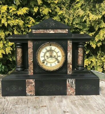 Antique Vintage Marble/Slate Ansonia Clock Co New York Clock * • 275£