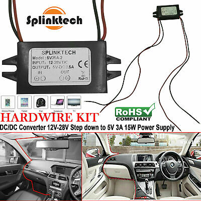 £3.99 • Buy DC 12V To 5V 3A 15W Car Hard Wired Dual USB Charger For Dash Cam Mobile GPS DVR