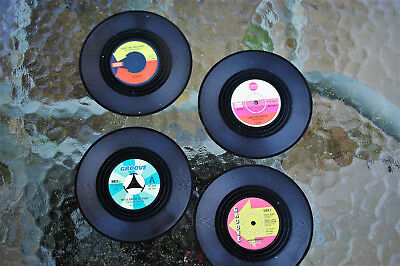 Set Of 4, Vinyl Record Coasters - 104mm Diameter - Nostalgic Retro Style • 2.95£