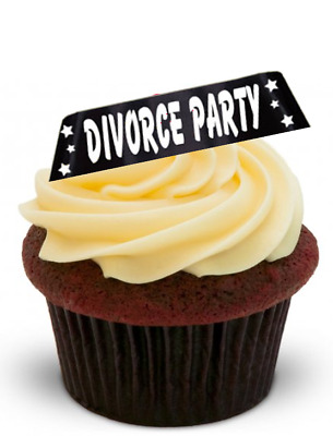 DIVORCE PARTY Black - Standups 12 Edible Standup Premium Wafer Cake Toppers • 2.59£