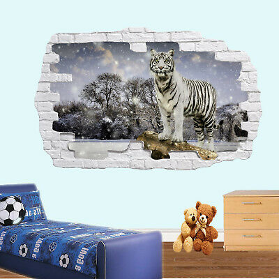 Winter Snow Scenery Tiger Wall Stickers 3d Art Mural Decal Home Office Decor SK3 • 22.99£