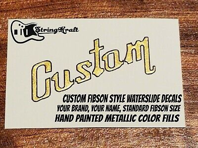 £12.70 • Buy Custom Waterslide Guitar Decal For Headstock. Fibson Style Font. Your Brand Name