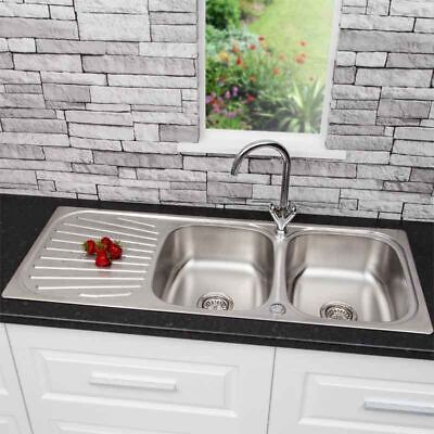 Stainless Steel 2 Bowl Double Kitchen Sink Reversible Drainer Inset + FREE Waste • 89.99£