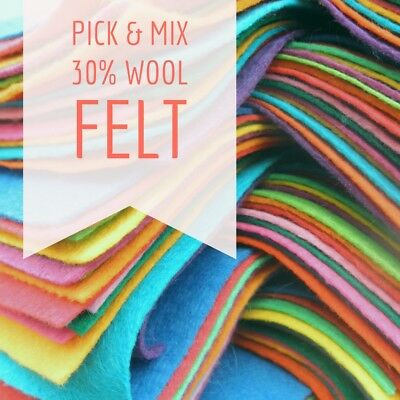 Wool Blend Felt Square - Pick & Mix From 48 Colours - 9 Inch / 22cm Squares • 1.05£