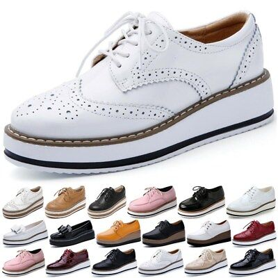 £18.99 • Buy Womens Creepers Platform Lace Up Wedge Oxfords Chunky Heels Brogue Shoes Beauty
