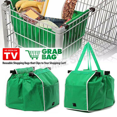 AU16.96 • Buy 1/2/4/8Pcs Foldable Shopping Bags Reusable  Grocery Cart Trolley Bag With Handle