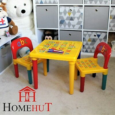 Kids Table And Chair Set ABC Alphabet Childrens Plastic Toddlers Childs  School • 25.95£