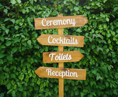 £19.99 • Buy Large Customised Wedding Direction Sign Post Arrows Vintage Rustic