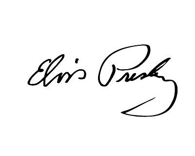 ELVIS PRESLEY Style Replica Signature Vinyl Sticker From 75mm To 150mm • 2£