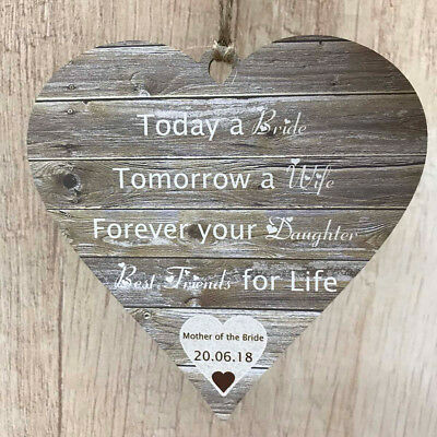 £8.99 • Buy Personalised Mother Of The Bride Gifts Rustic Wedding Wooden MDF Heart MOB Sign