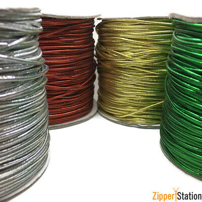 $ CDN3.35 • Buy 2mm Round Lurex Metallic Elastic - Stretch Cord In Gold, Silver, Green And Red