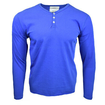 $16.14 • Buy Henley Mens Shirt Long Sleeve Slim Fit Button Thermal Pullover ROYAL BLUE NEW