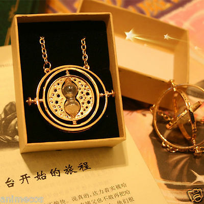 $4.99 • Buy Harry Potter Time Turner Necklace Hermione Granger Rotating Spin Hourglass W/Box