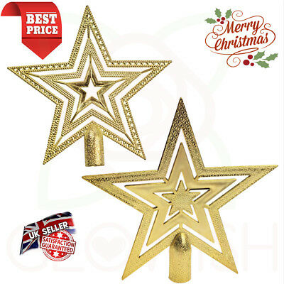 Christmas Tree Topper Gold Star Decoration Xmas Tree Top Ornament Shiny Ornament • 6.25£