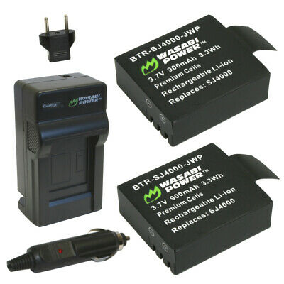 AU17.03 • Buy Wasabi Power Battery (2-Pack) And Charger For SJCAM SJ4000, SJ5000 And 1080P,