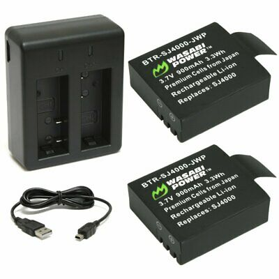 AU20.96 • Buy Wasabi Power Battery (2-Pack) And Dual Charger For SJCAM SJ4000, SJ5000 And