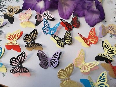 30x 3D Paper Butterflies Hen Night Wedding  Bridal Shower Party Table Decoratio • 7.50£