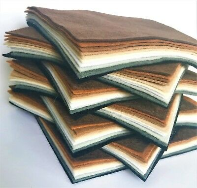 Animal Colours Felt Squares - Wool Blend Felt X10 Sheets - Soft Craft Felt • 4.40£