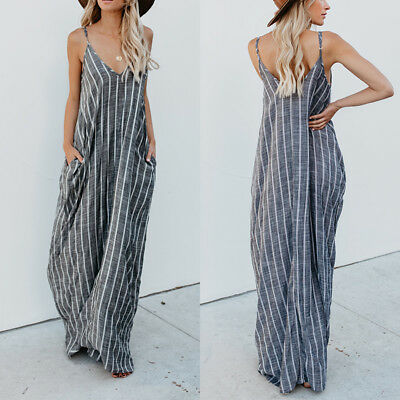AU19.99 • Buy Women Plus Size Strappy Striped Long Maxi Sundress Party Club Beach CaDress