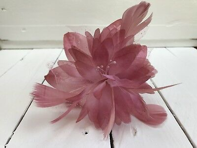 Dusky Pink Feather Fascinator Hair Band Ladies Day Races Party Wedding • 10.99£