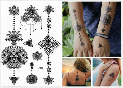 £2.69 • Buy Black Henna Tribal Flower Lace Temporary Tattoo Stickers Sexy Adult Body Art