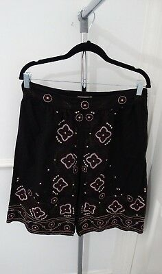 Ladies Cherokee Summer Beach Holiday Black Floral Godet Fit Flare Skirt Size 12 • 7£