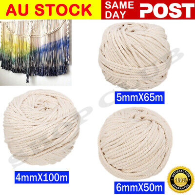 AU21.95 • Buy 4/5/6mm Macrame Rope Natural Beige Cotton Twisted Cord Artisan Hand Craft New