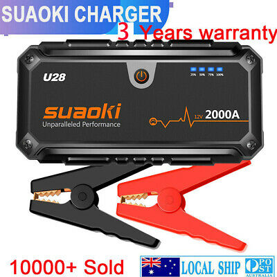 AU189.99 • Buy Suaoki U28 2000A Peak Jump Starter Pack With USB Power Bank Smart Battery Clamps