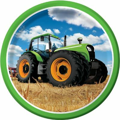 AU7.18 • Buy 8 X Tractor Time 9  Paper Plates Boys Birthday Party Tableware Supplies Farm