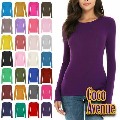 New Ladies Long Sleeve Crew Neck Plain Casual Stretchy Tee Basic Fit T-Shirt Top • 5.95£