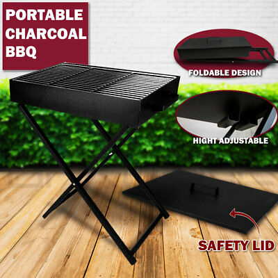 AU79.95 • Buy Large Ourdoor Portable Foldable Folding Charcoal BBQ Grill Camping Picnic W/ Lid