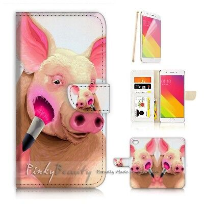 AU12.99 • Buy ( For Oppo A57 ) Wallet Case Cover P21532 Cute Pig