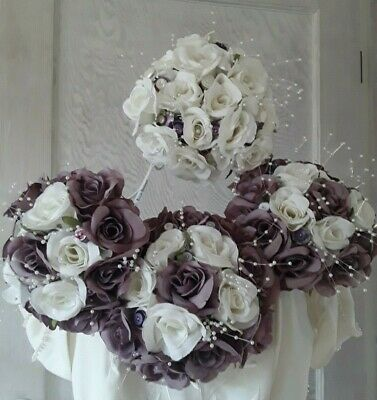 £50 • Buy Bridal Bouquet Set/white/purple Artifical Roses Diamantes And Buttons Flowers