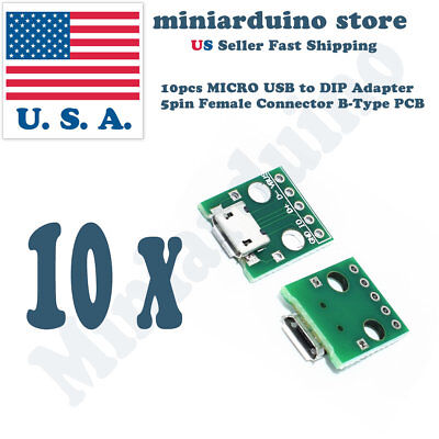 $3.27 • Buy 10pcs MICRO USB To DIP Adapter 5pin Female Connector Pcb Converter DIY Kit Mini