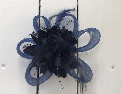 Navy Blue Feather Fascinator Hair Clip Ladies Day Races Party Wedding • 18.99£