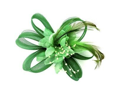 Emerald Green Feather Fascinator Hair Clip Ladies Day Races Party Wedding • 18.99£