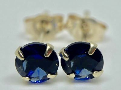 AU33.96 • Buy 9k Solid Yellow Gold Round Sapphire Solitaire Studs Earrings