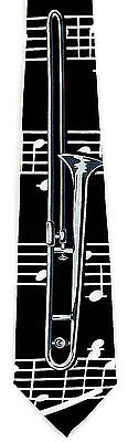 Trombone Men's Neck Tie Music Brass Musical Instrument Musician Black Necktie • 15.95$